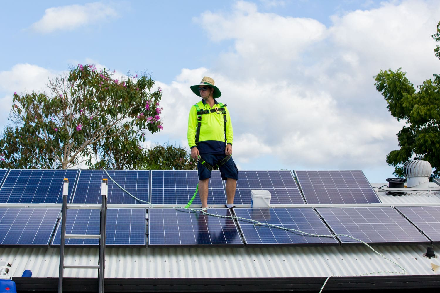 photo of highly efficient solar panels installed on a roof in cairns
